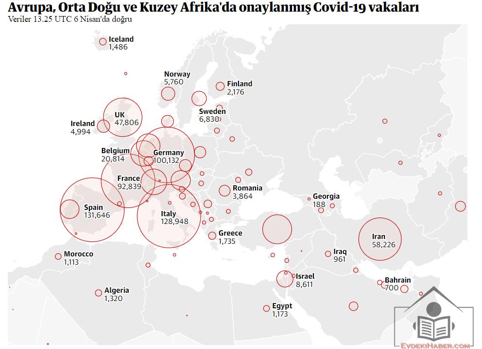 Avrupa, Orta Doğu ve Kuzey Afrika'da onaylanmış Covid-19 vakaları