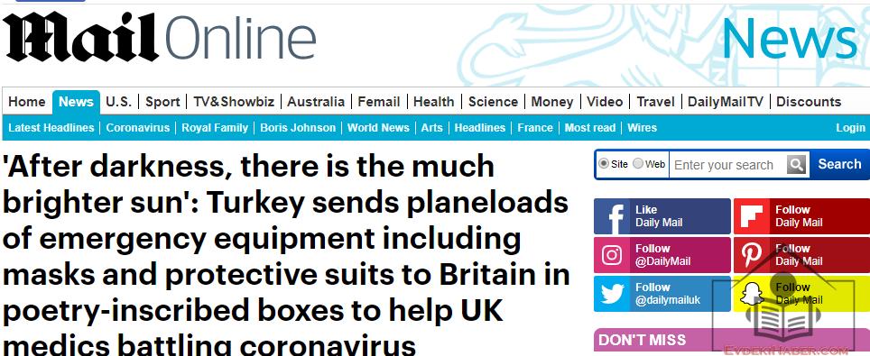 Türkiye'nin İngiltere'ye Yardımı İngiliz Basınında